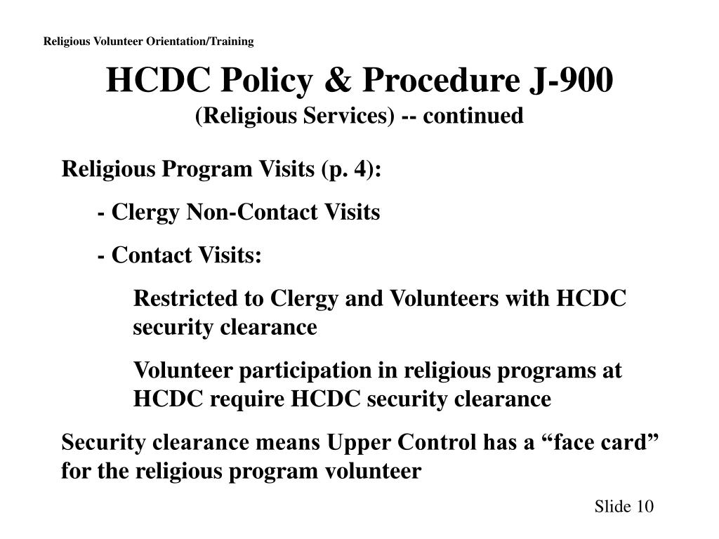 HCDC Policy & Procedure J-900