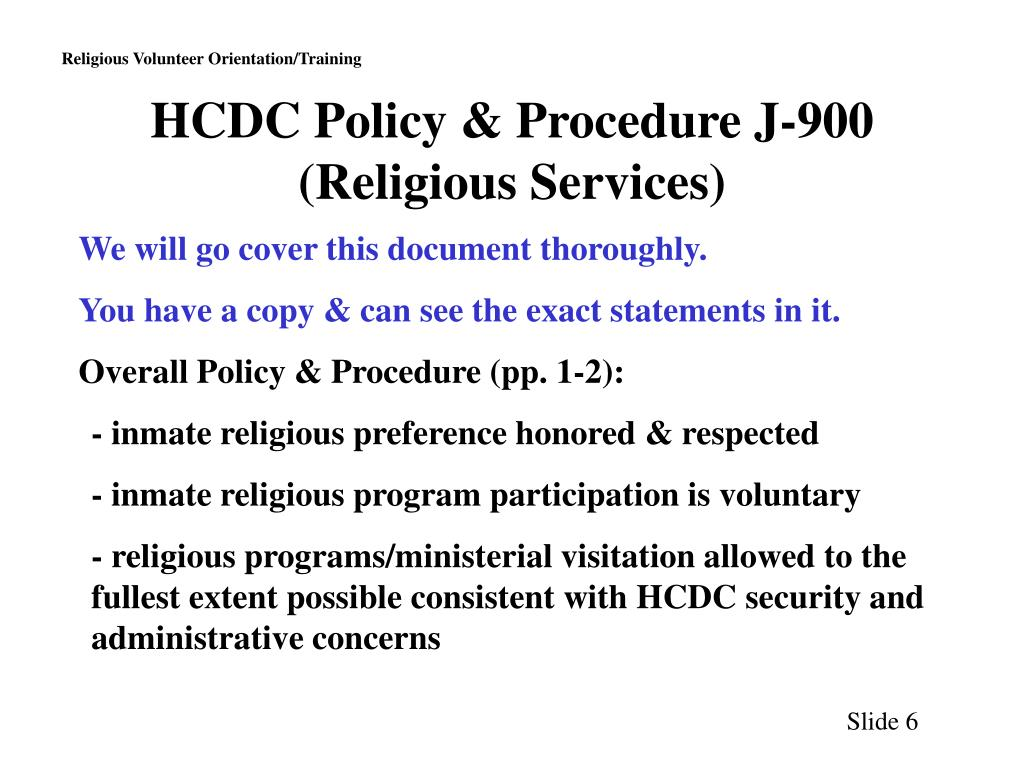 HCDC Policy & Procedure J-900 (Religious Services)