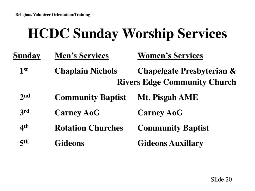 HCDC Sunday Worship Services