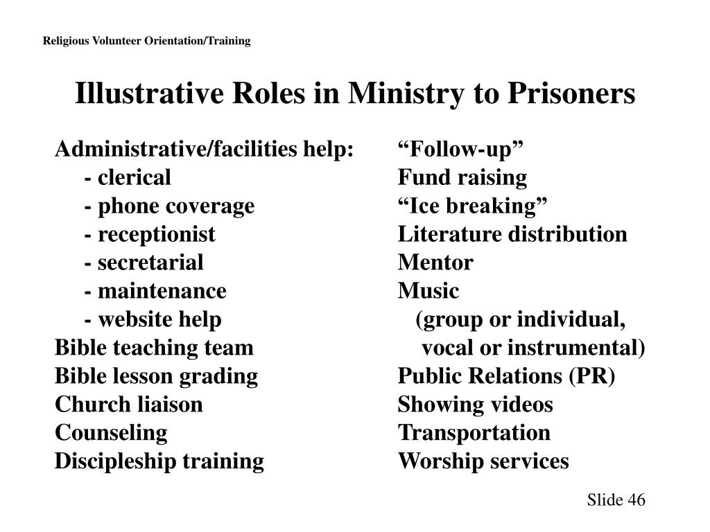 Illustrative Roles in Ministry to Prisoners