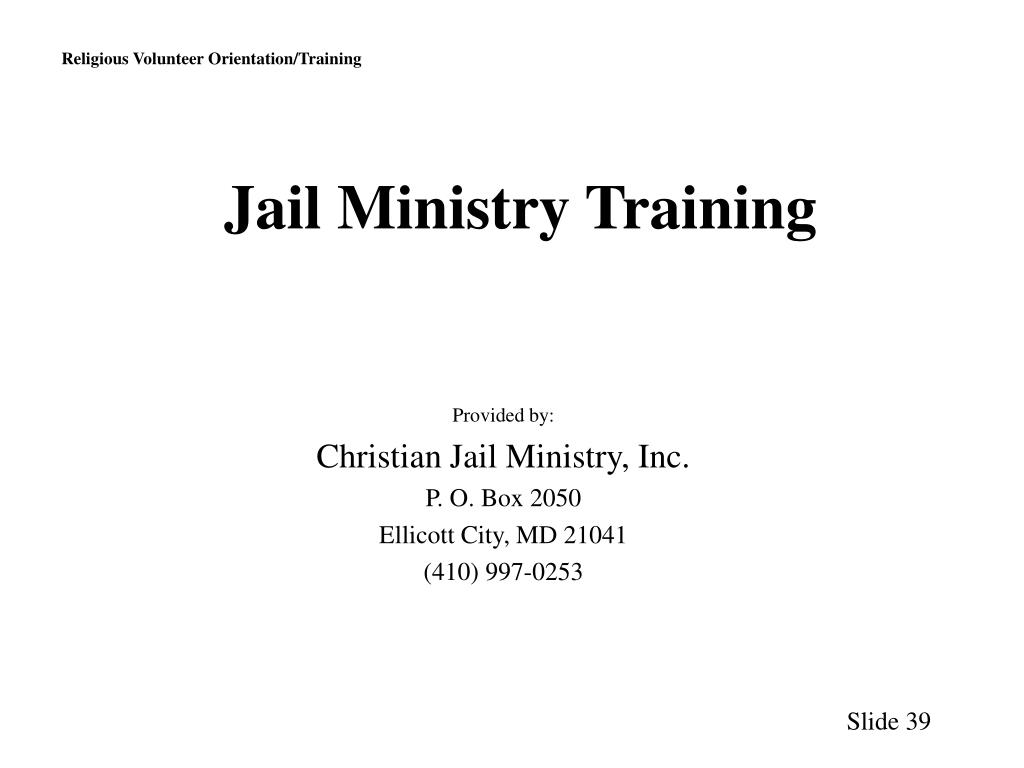 Jail Ministry Training