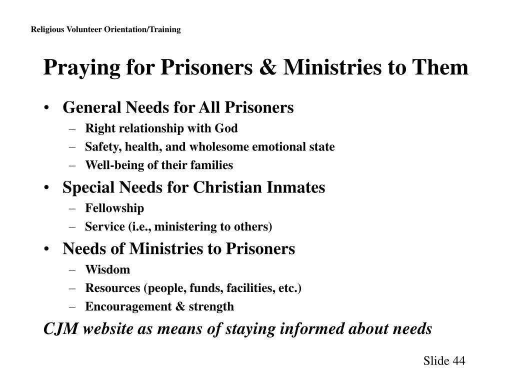 Praying for Prisoners & Ministries to Them