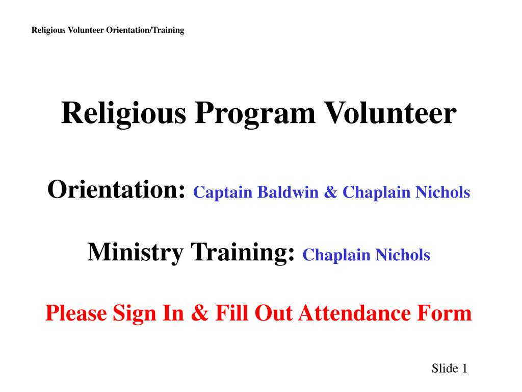 Religious Program Volunteer