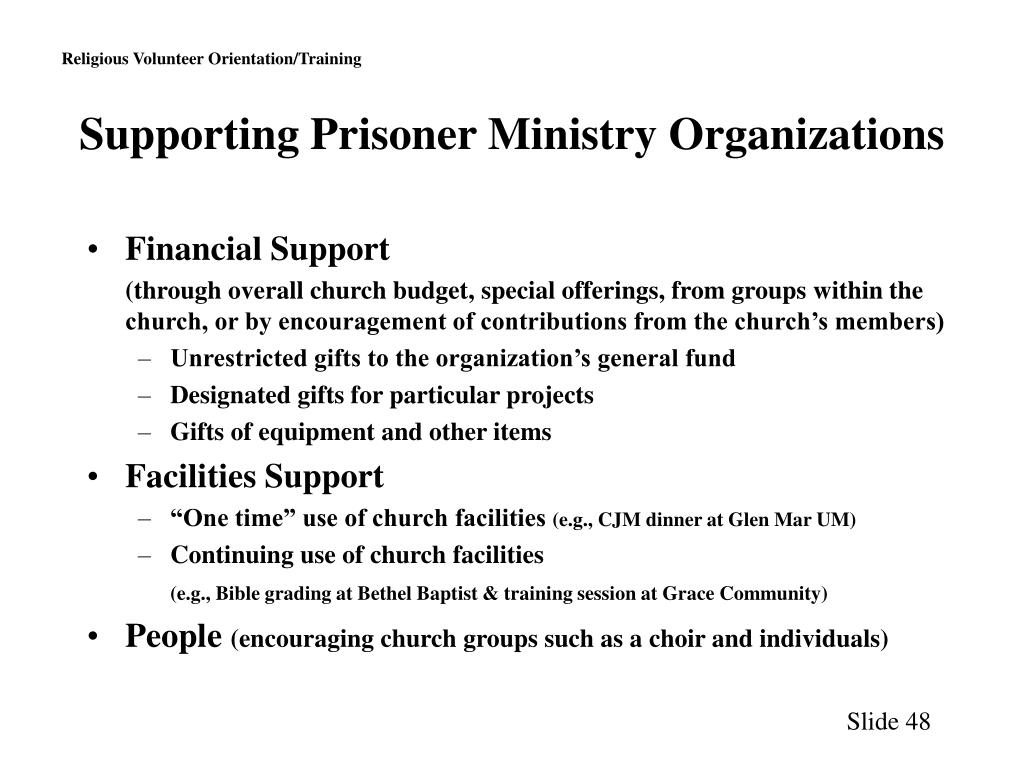 Supporting Prisoner Ministry Organizations