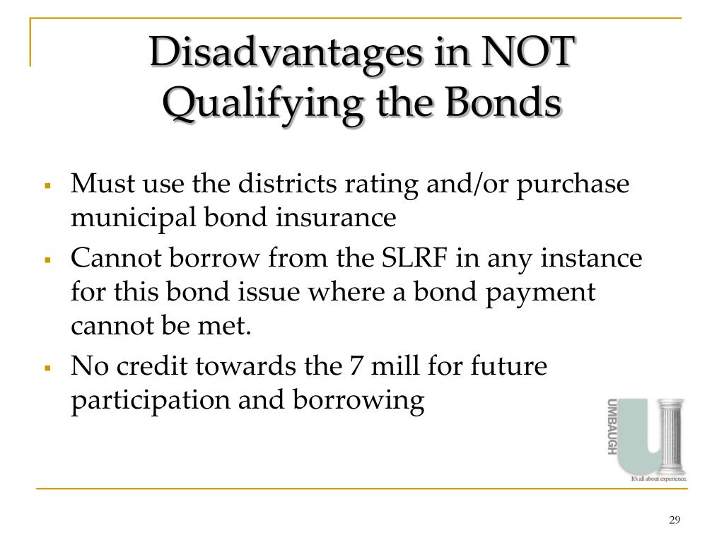 Disadvantages in NOT Qualifying the Bonds