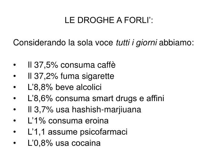 LE DROGHE A FORLI':