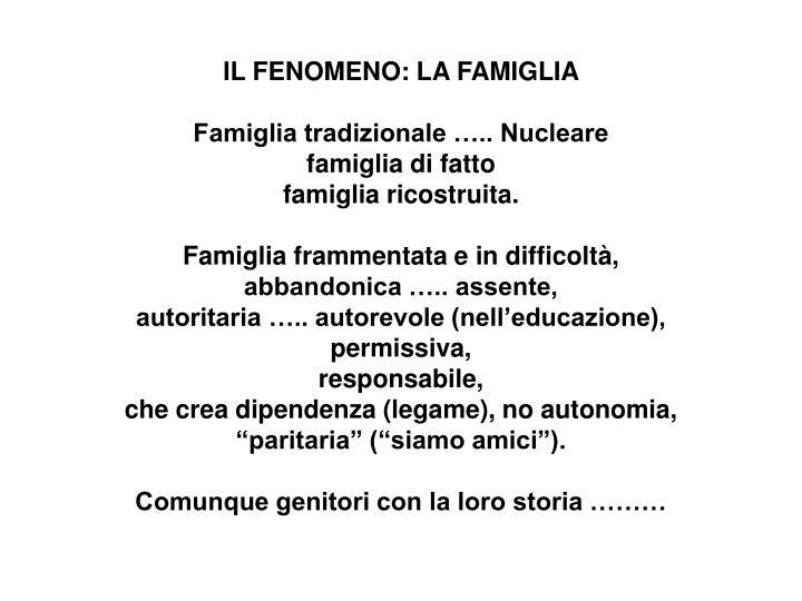 IL FENOMENO: LA FAMIGLIA
