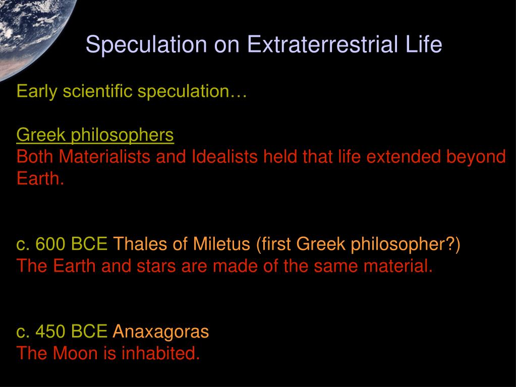 Speculation on Extraterrestrial Life
