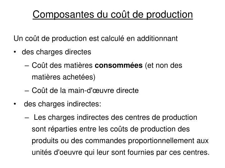 Composantes du coût de production