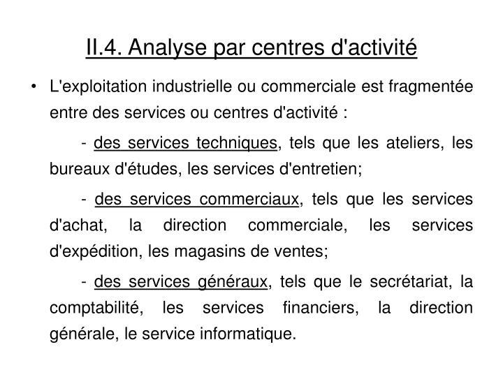 II.4. Analyse par centres d'activité