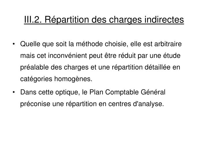 III.2. Répartition des charges indirectes