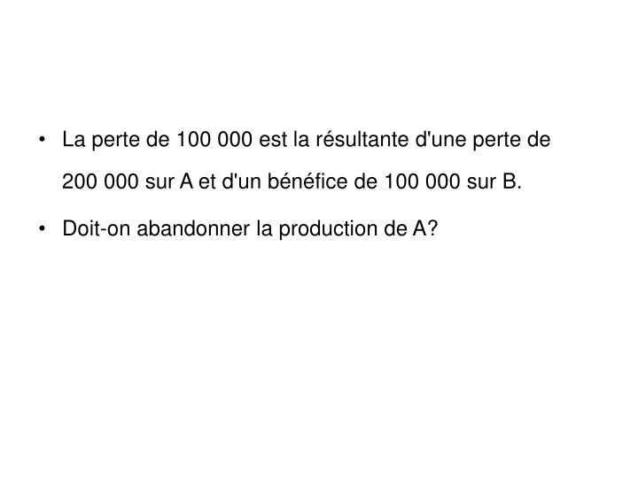 La perte de 100 000 est la résultante d'une perte de    200 000 sur A et d'un bénéfice de 100 000 sur B.