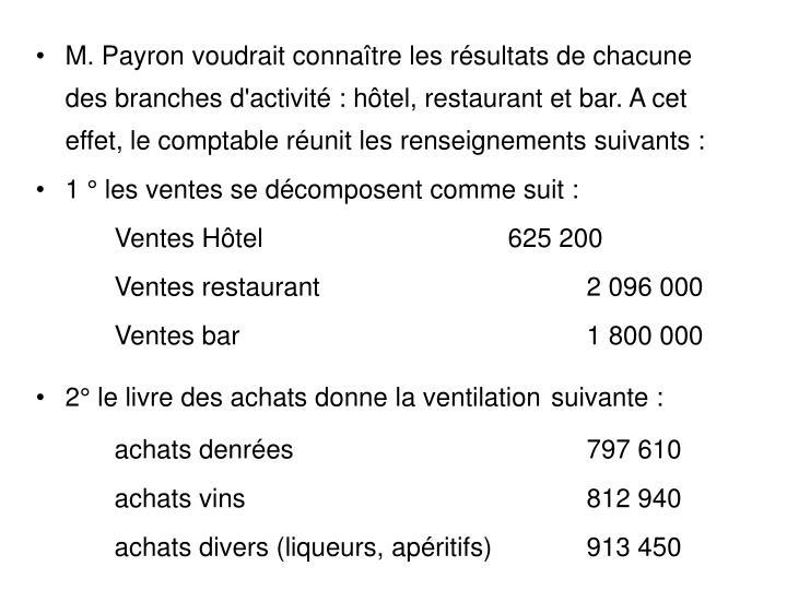 M. Payron voudrait connaître les résultats de chacune des branches d'activité : hôtel, restaurant et bar. A cet effet, le comptable réunit les renseignements suivants :