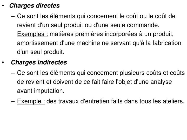 Charges directes