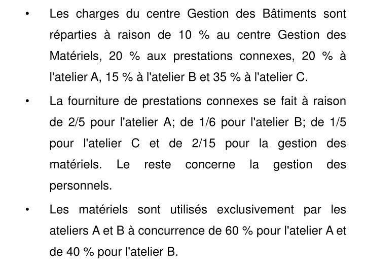 Les charges du centre Gestion des Bâtiments sont réparties à raison de 10 % au centre Gestion des Matériels, 20 % aux prestations connexes, 20 % à l'atelier A, 15 % à l'atelier B et 35 % à l'atelier C.