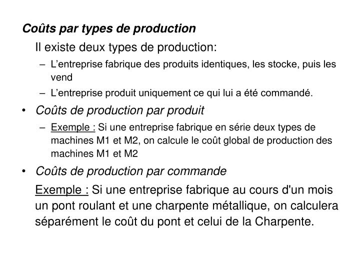 Coûts par types de production