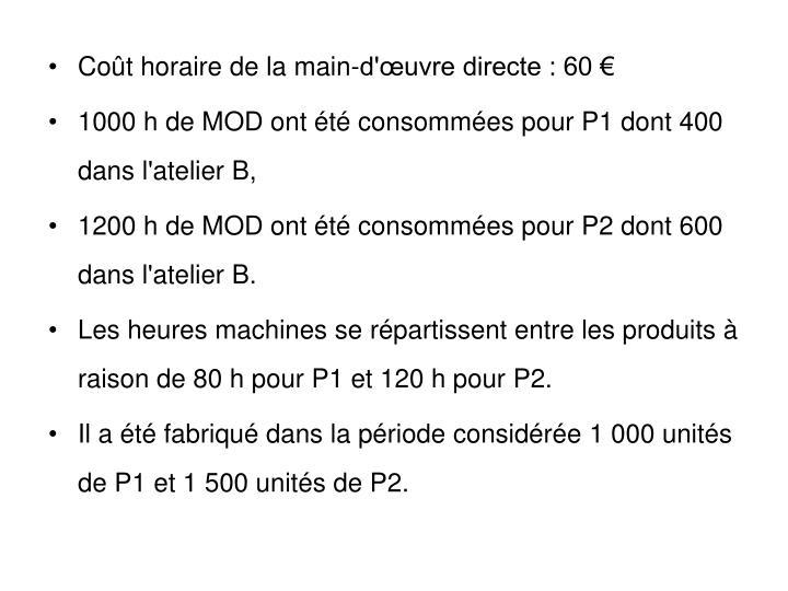 Coût horaire de la main-d'œuvre directe : 60 €