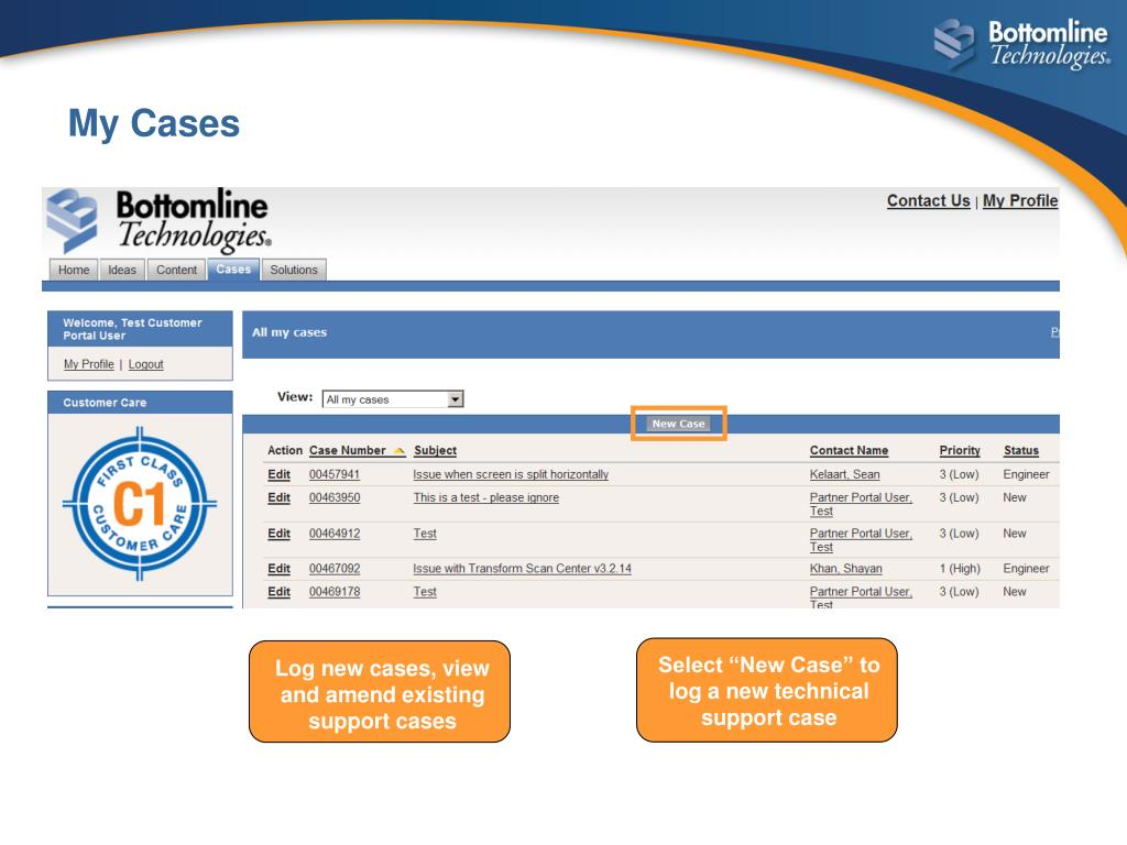 Log new cases, view and amend existing support cases