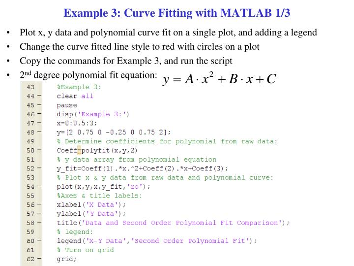 Example 3: Curve Fitting with MATLAB 1/3
