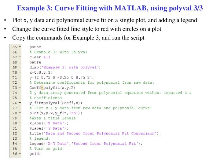 Example 3: Curve Fitting with MATLAB, using polyval 3/3