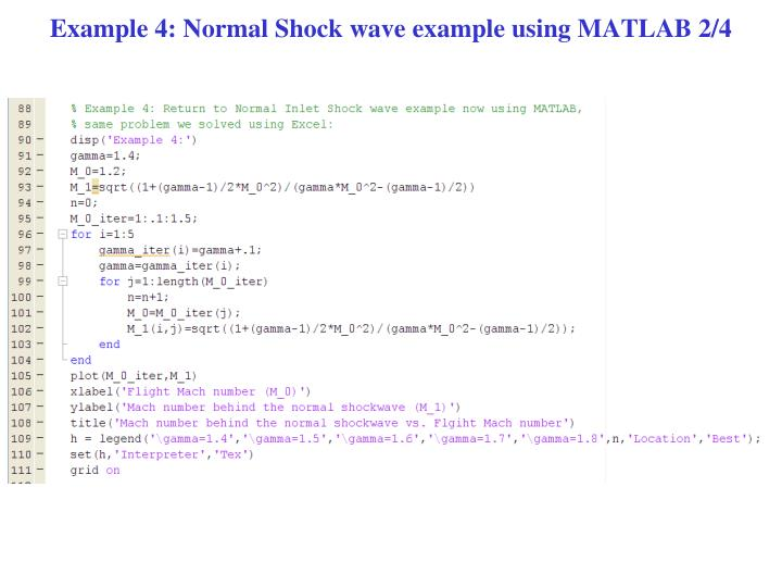Example 4: Normal Shock wave example using MATLAB 2/4