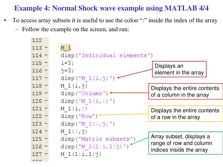 Example 4: Normal Shock wave example using MATLAB 4/4