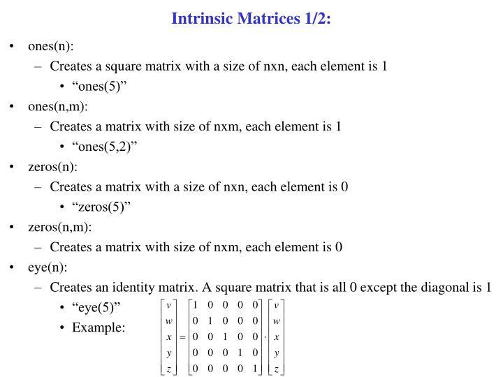 Intrinsic Matrices 1/2: