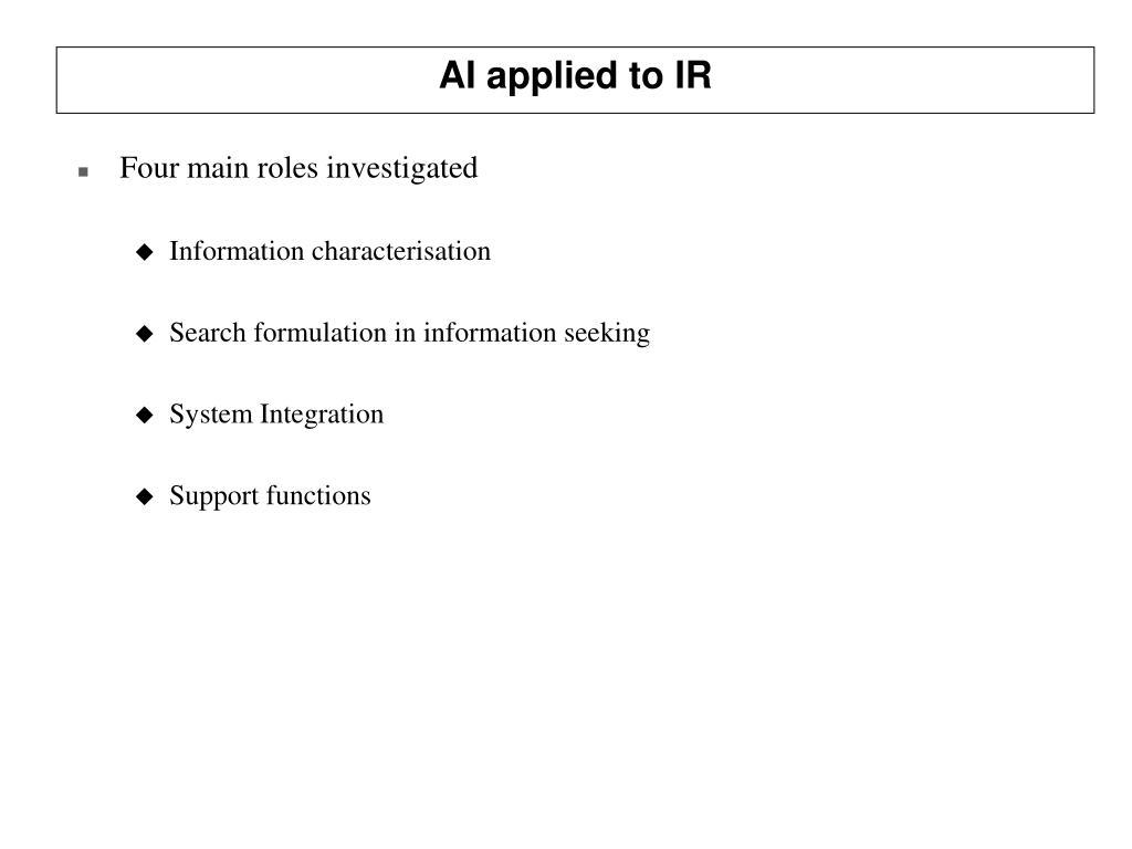 AI applied to IR