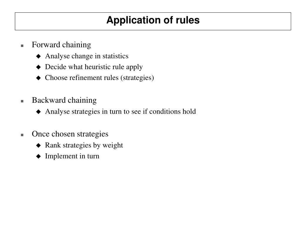 Application of rules
