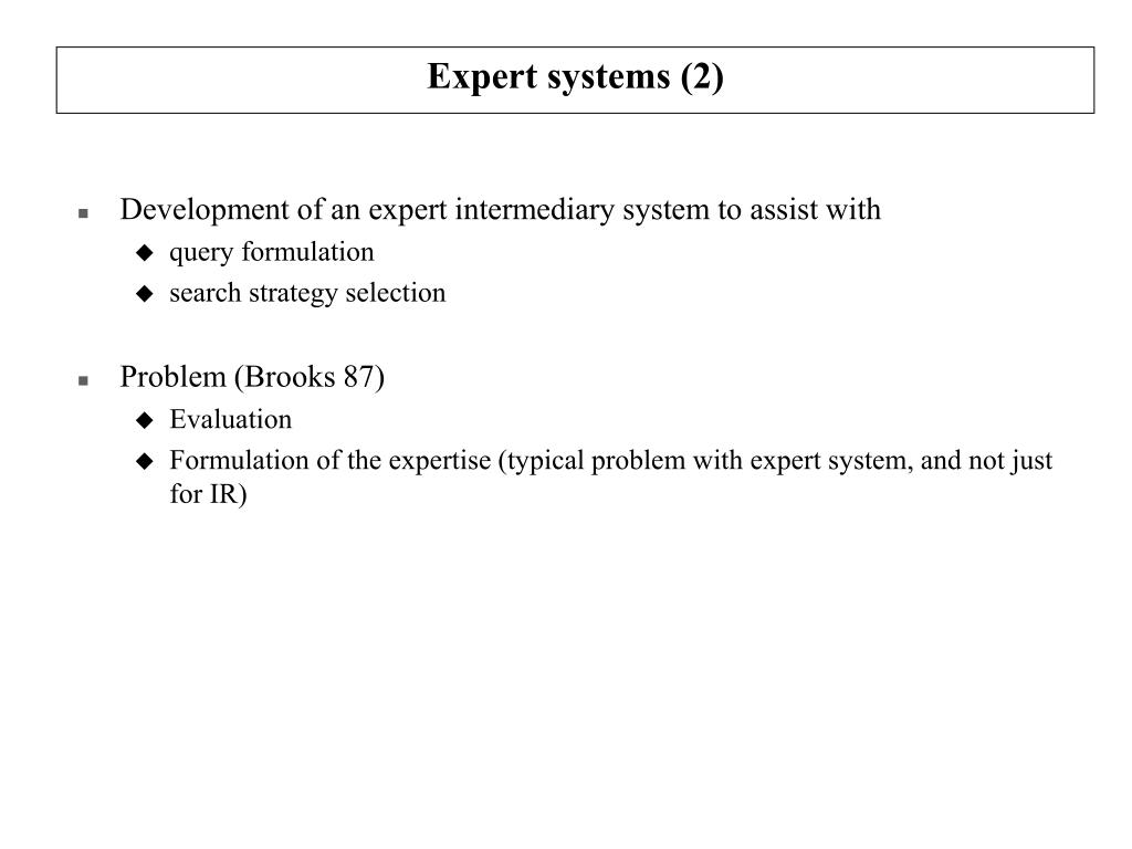 Expert systems (2)