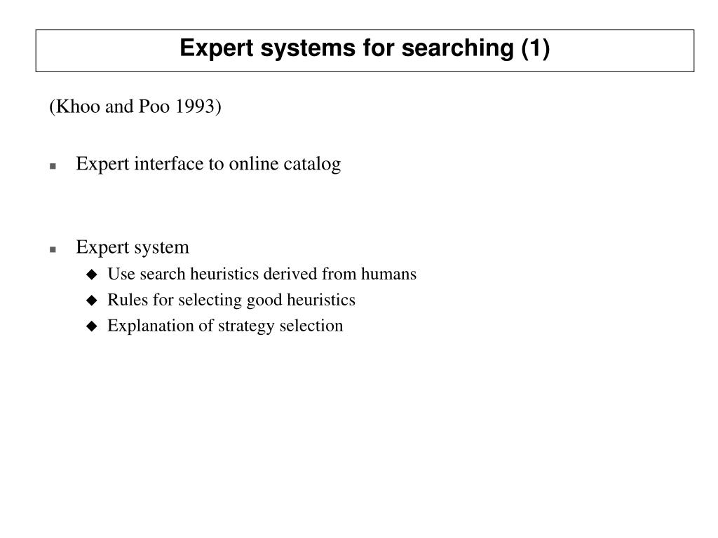 Expert systems for searching (1)