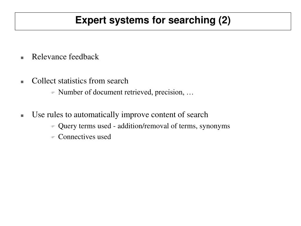 Expert systems for searching (2)