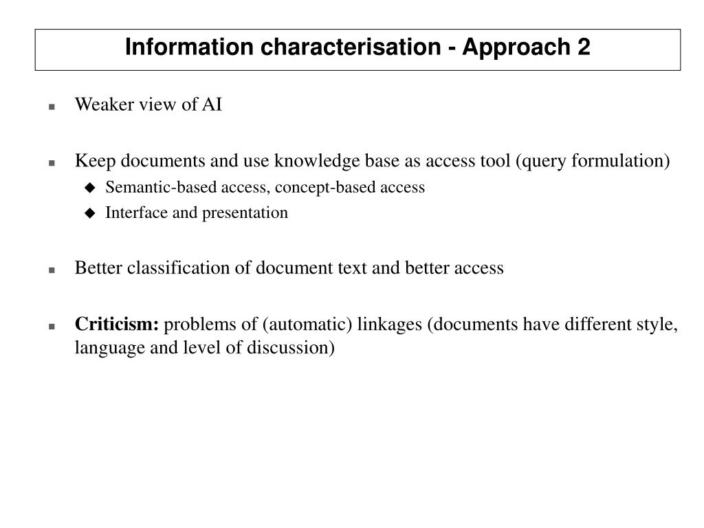 Information characterisation - Approach 2