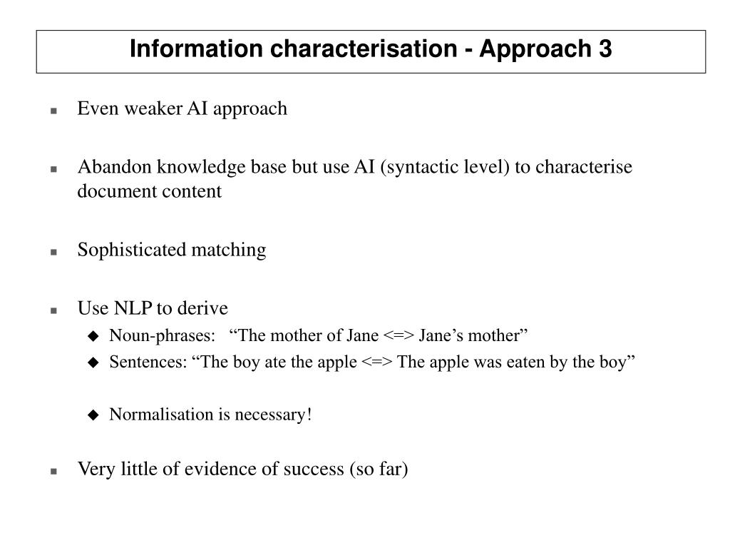 Information characterisation - Approach 3