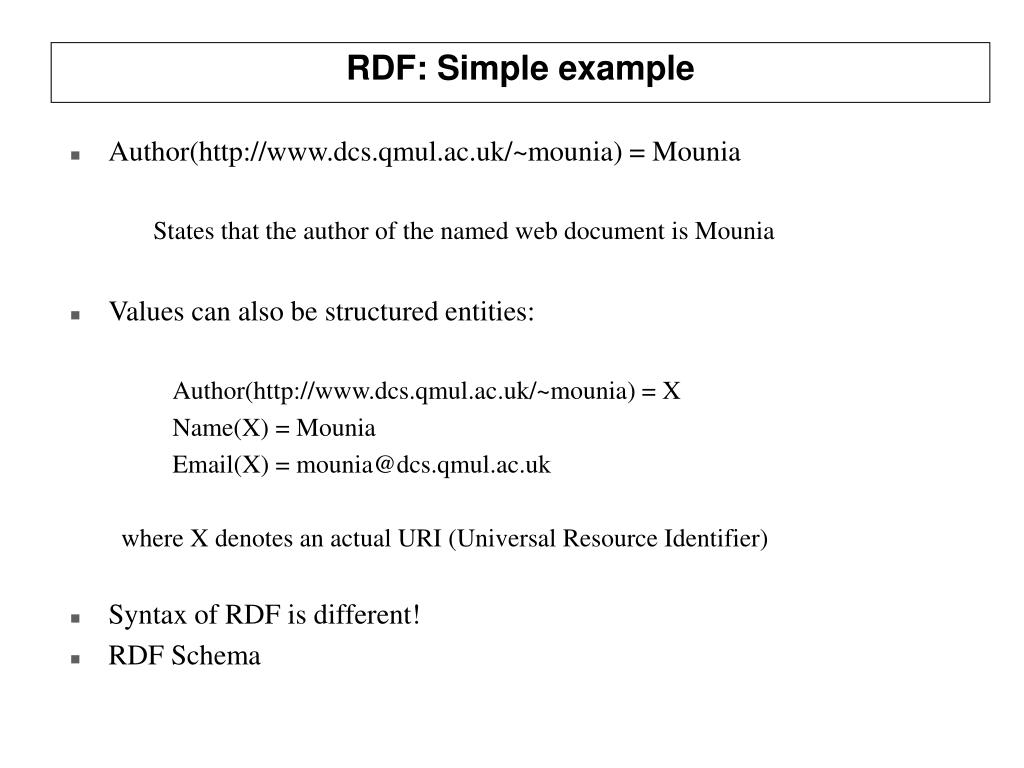 RDF: Simple example