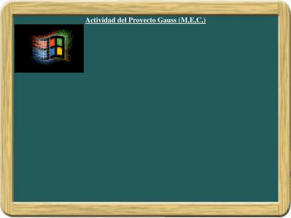 Actividad del Proyecto Gauss (M,E,C,)