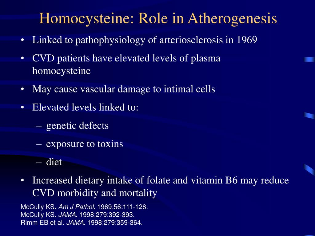 Homocysteine: Role in Atherogenesis
