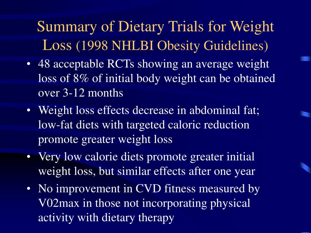 Summary of Dietary Trials for Weight Loss