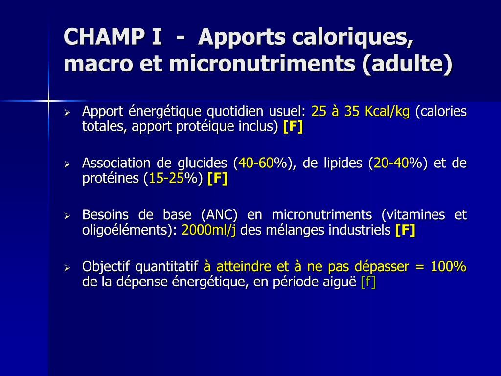 CHAMP I  -  Apports caloriques, macro et micronutriments (adulte)