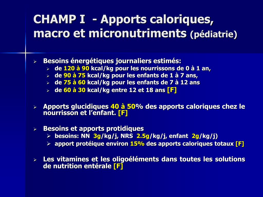 CHAMP I  - Apports caloriques, macro et micronutriments