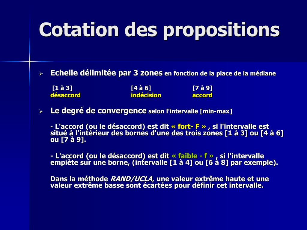 Cotation des propositions