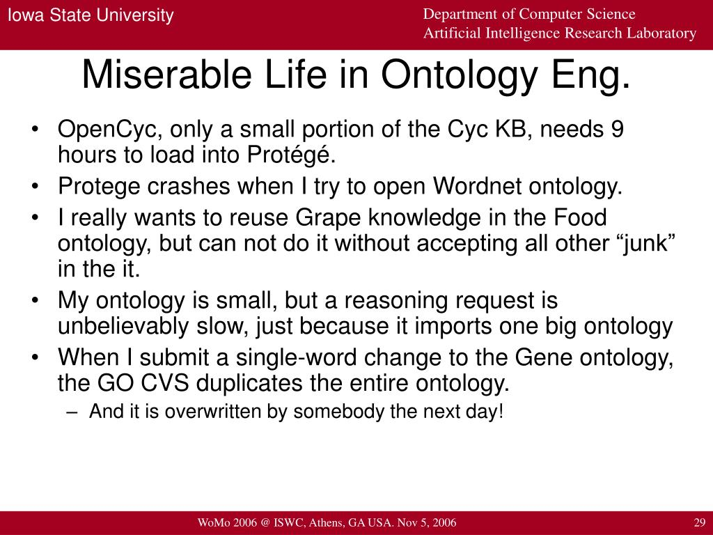 Miserable Life in Ontology Eng.
