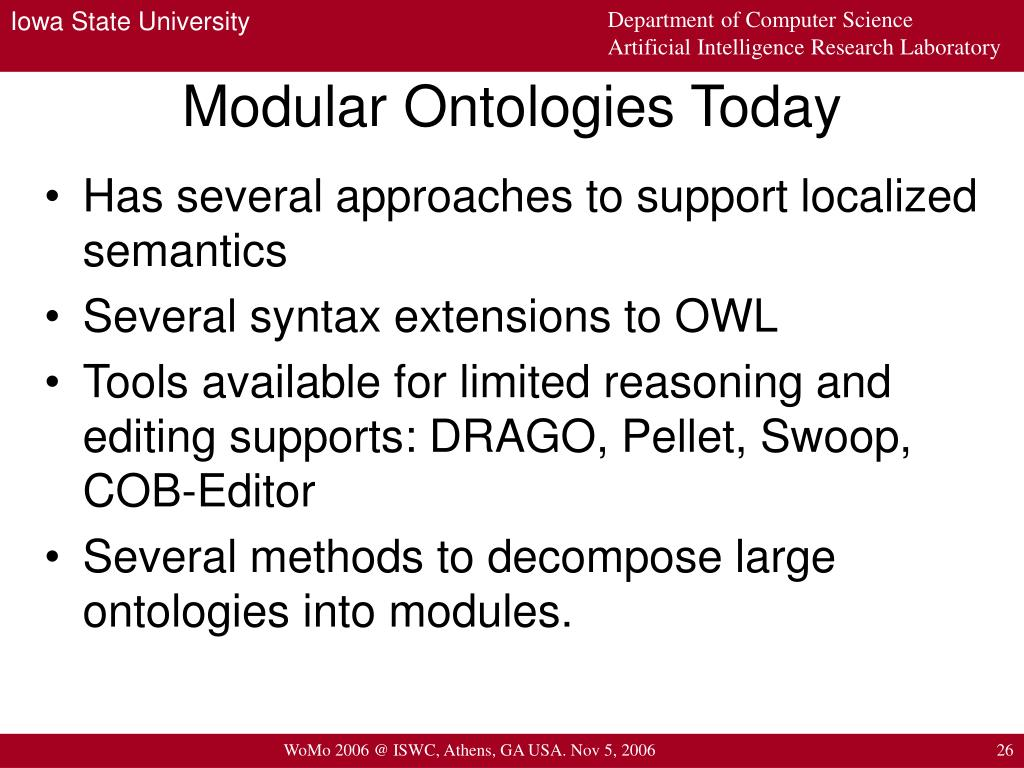 Modular Ontologies Today