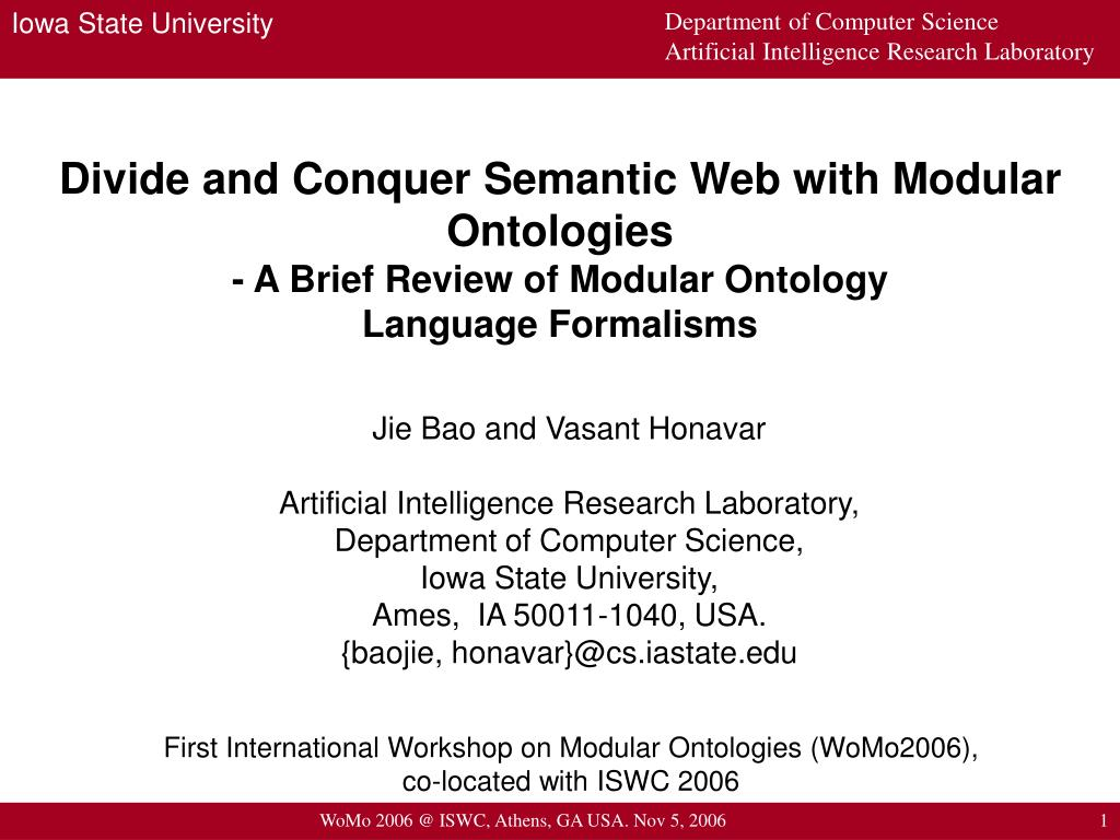 Divide and Conquer Semantic Web with Modular