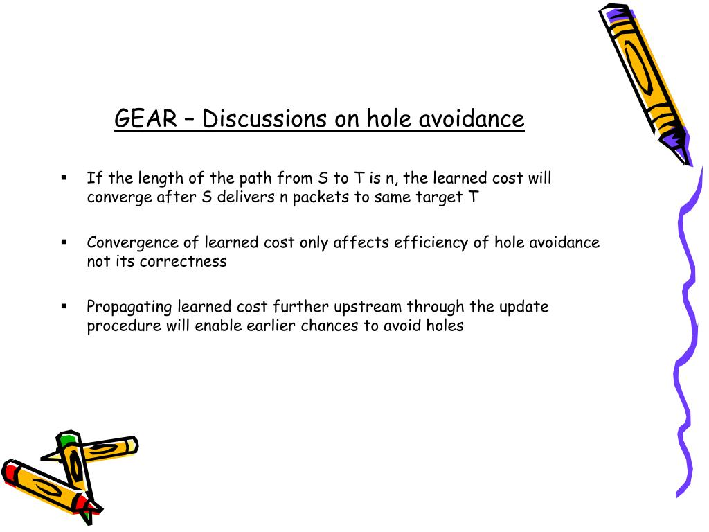 GEAR – Discussions on hole avoidance