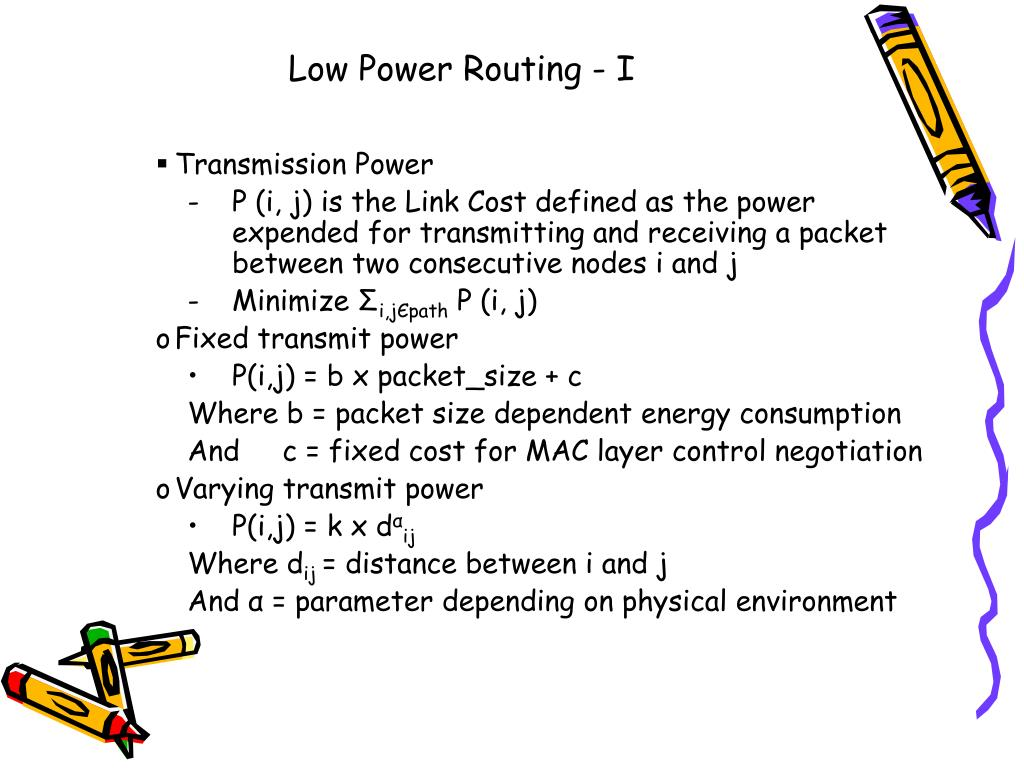 Low Power Routing - I