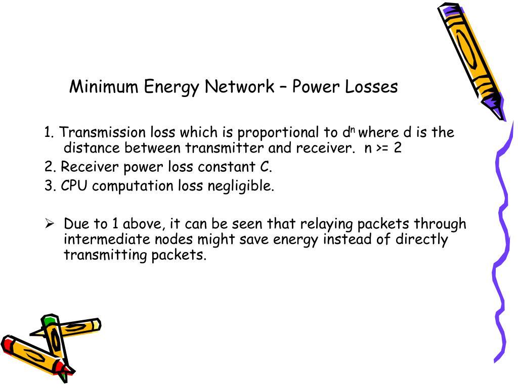 Minimum Energy Network – Power Losses