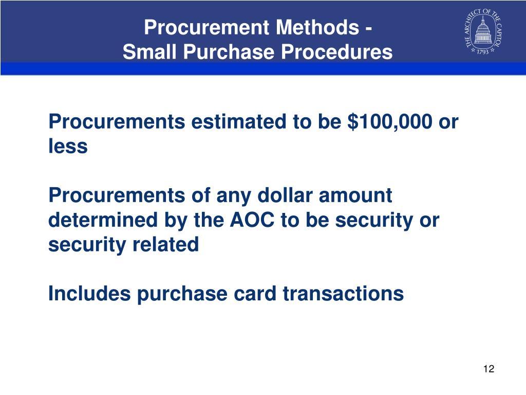 Procurement Methods -