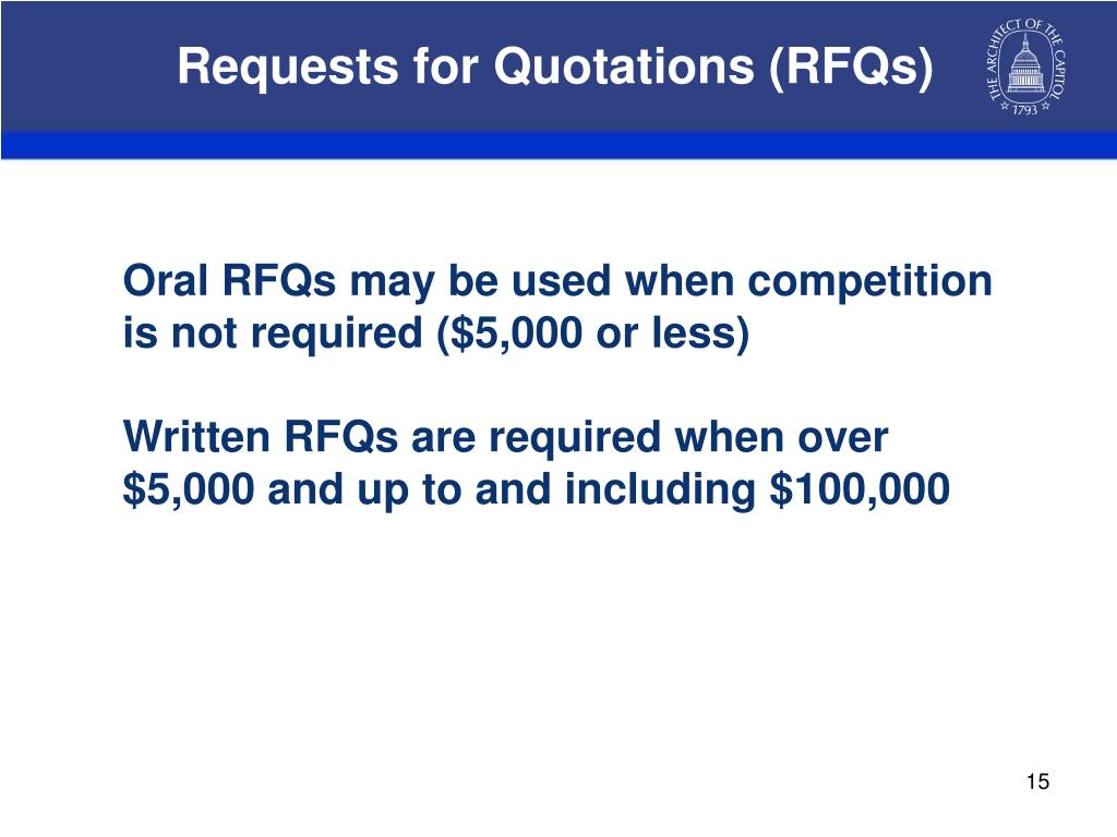 Requests for Quotations (RFQs)