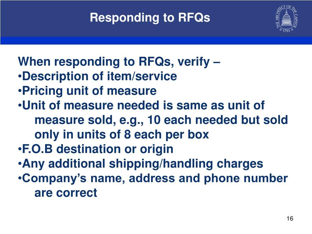 Responding to RFQs